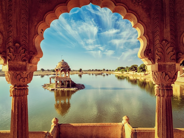 Indian landmark gadi sagar in rajasthan