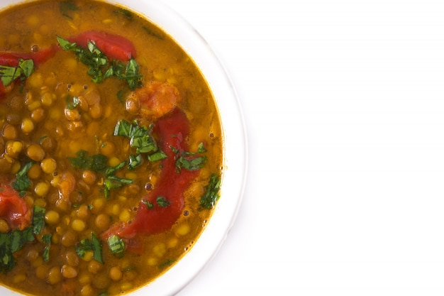 Indian lentil soup dhal in a bowl