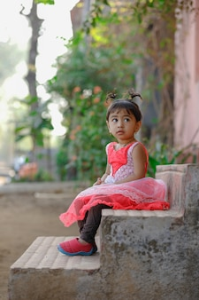 Indian little girl child  playing