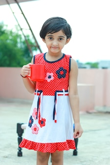 Indian little girl giving multiple expression
