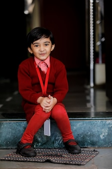 Indian little  girl in school uniform