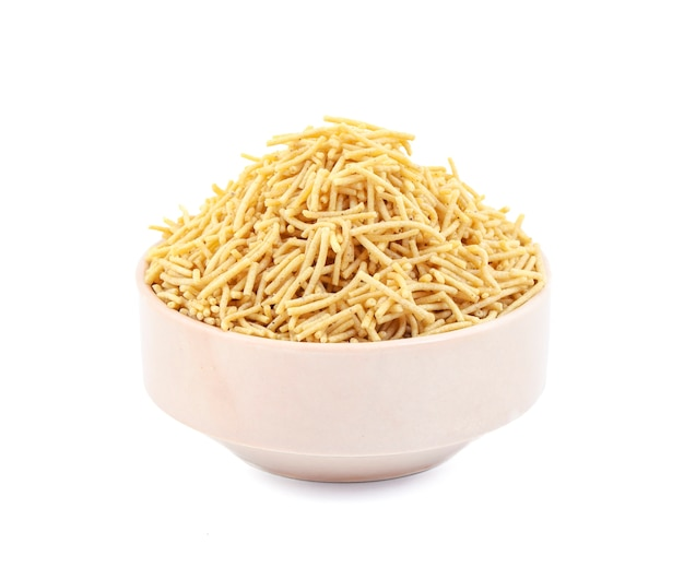 Indian namkeen aloo sev on white background