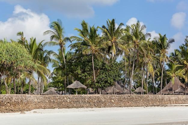 Береговая линия индийского океана песчаное побережье индийского океана с мощеной набережной.