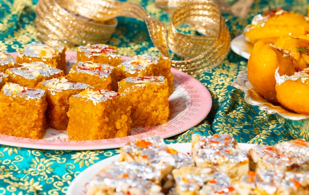 Indian popular sweet food sugar free dry fruits with mung dal chakki or chandrakala