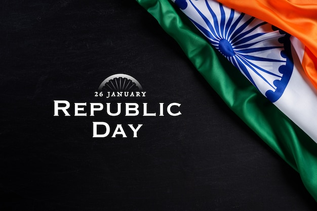 Indian republic day concept. indian flag against blackboard background. 26 january.