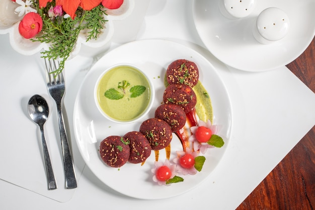 인도 레스토랑 음식 요리 beetroot kawab