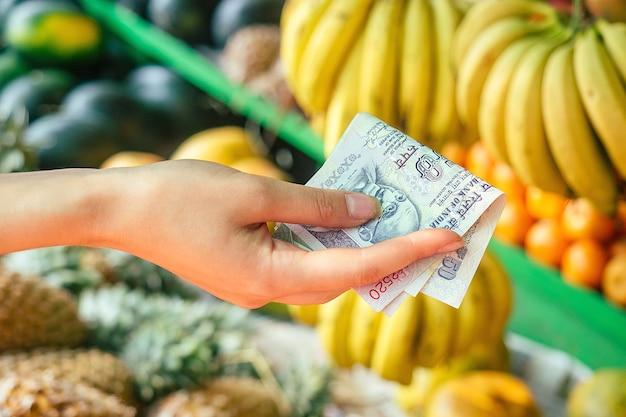여성의 손에 있는 인도 루피는 아시아 시장에서 과일을 선택합니다. 관광 및 레크리에이션의 개념입니다.