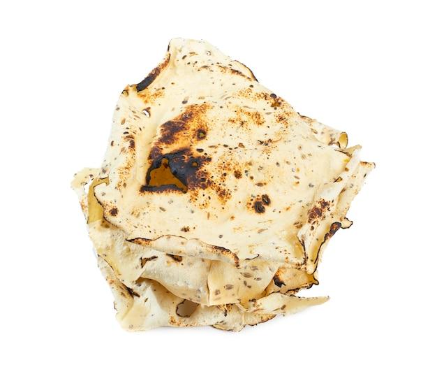 Indian snack dish roasted papad on white