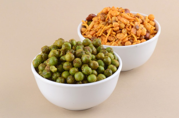 Indian snacks : mixture and spiced fried green peas