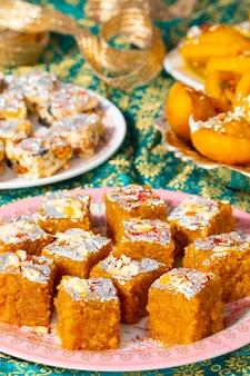 Indian special sweet food mung dal chakki with sugar free dry fruits or chandrakala