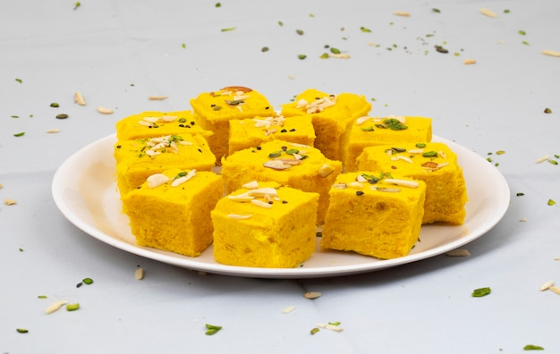 Indian special traditional sweet food soan papdi