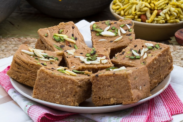 Indian special traditional sweet food sohan papdi