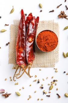 Indian spice red chilli powder in  bowl on white table