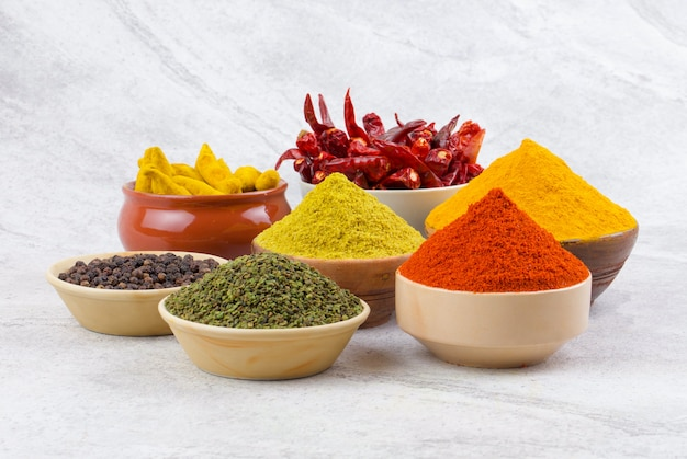 Indian spices collection on vintage background