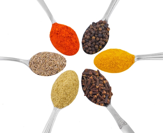 Indian spices in spoons on white background