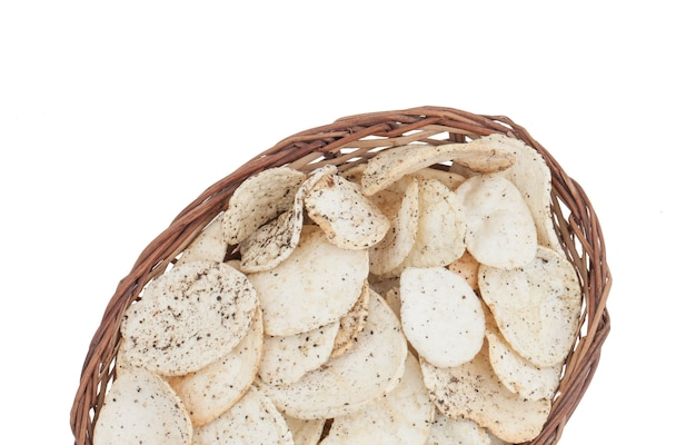 Indian spicy potato chips on white background