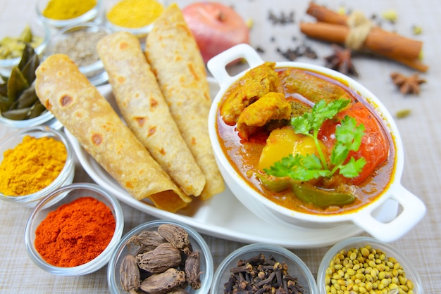 Indian spicy potato curry or aloo masala served with roti or chapati