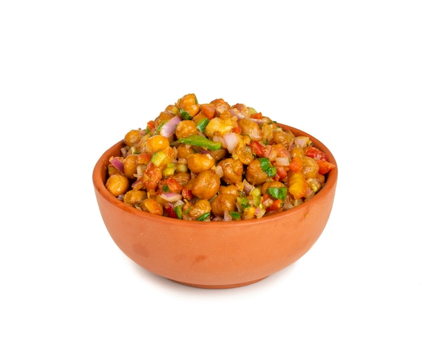 Indian street breakfast chana chaat on white surface