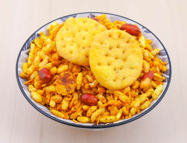 Indian street spicy food bhel puri is a savoury snack