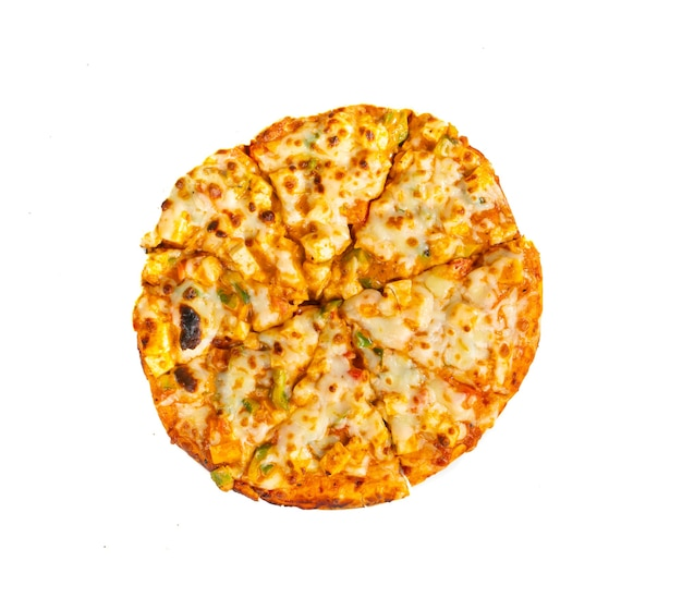 Indian style of italian dish paneer pizza topped with cottage cheese