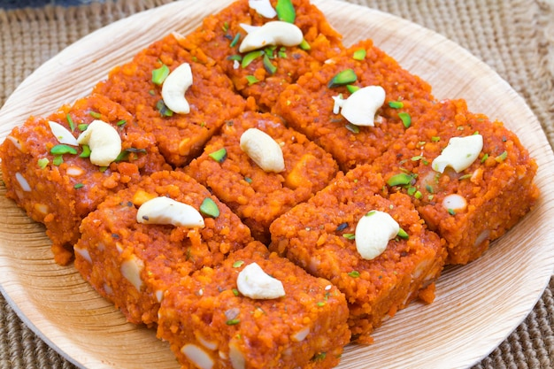Indian sweet food akhrot halwa
