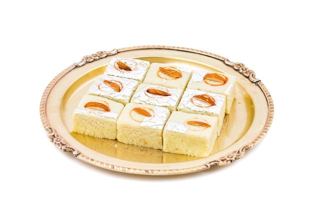 Indian sweet food badam barfi