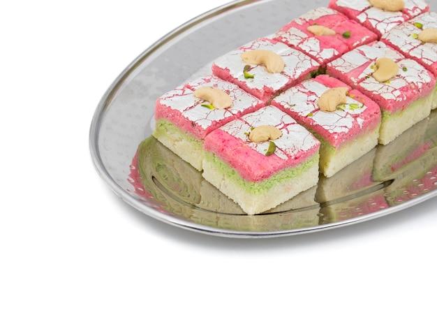 Indian sweet food dryfruit barfi on white background