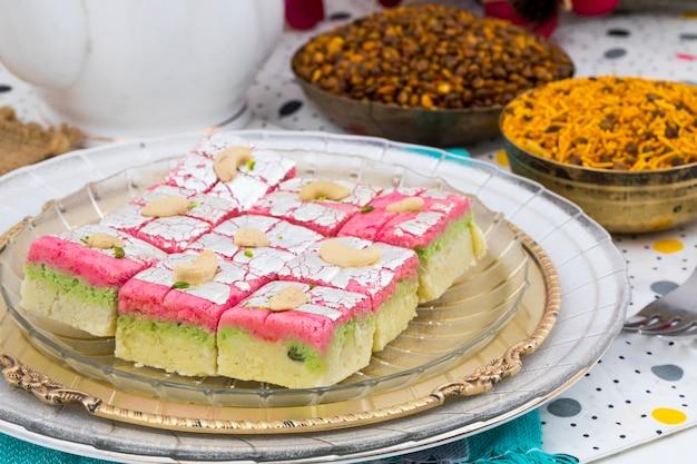 Indian sweet food dryfruit barfi
