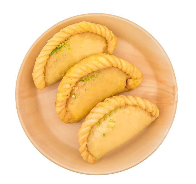 Indian sweet food gujiya or gujia