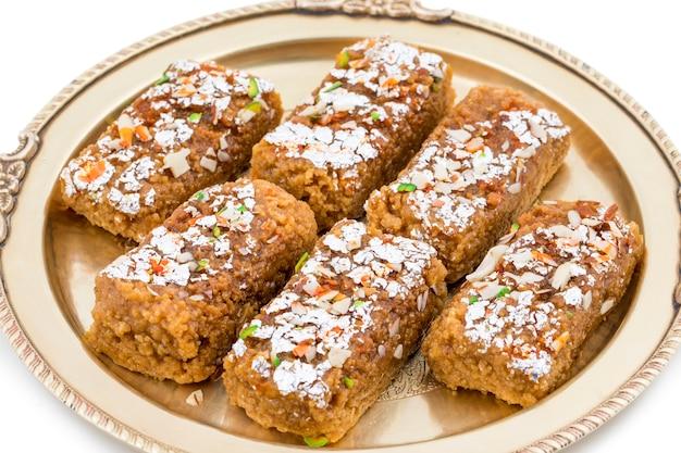 Indian sweet food gulab halwa on white background