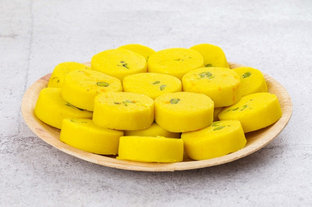 Indian sweet food kesar peda