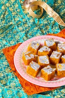Indian sweet food mung dal chakki or moong dal barfi