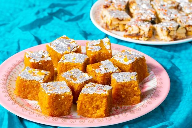 Indian sweet food mung dal chakki with sugar free dry fruits