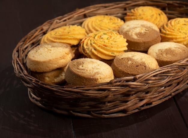 인도 달콤한 음식 nankhatai 또는 쿠키