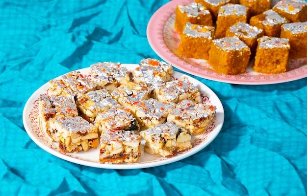 Indian sweet food sugar free dry fruits with mung dal chakki