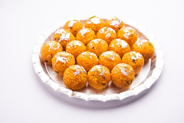 Indian sweet motichoor laddooãƒâ'ã'âor bundi laddu made of gram flour very small balls or boondis which are deep fried and soaked in sugar syrup before making balls