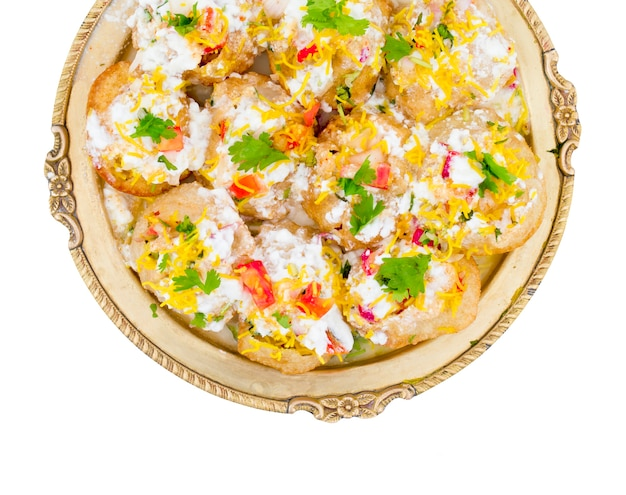 Indian sweet and spicy chaat item dahi puri
