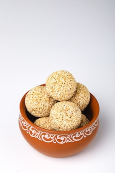 Indian sweet for traditional festival makar sankranti :rajgira laddu made from amaranth seed in bowl