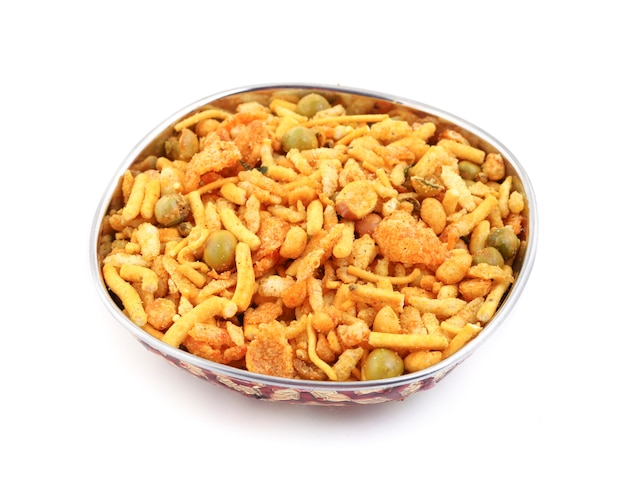 Indian tasty mix namkeen on white background