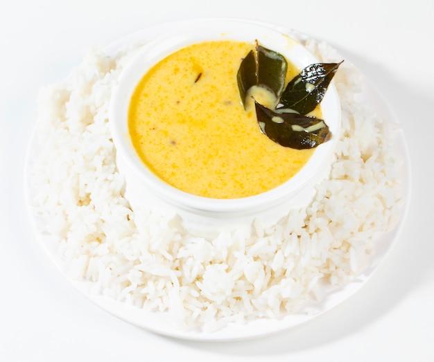Indian traditional cuisine kadhi chawal