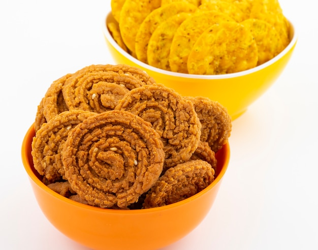 Indian traditional snack chakli with masala khari