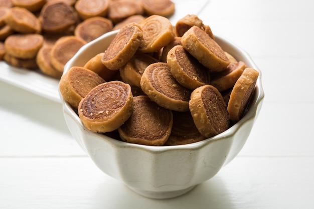 Indian traditional snacks bhakarvadi or bakarvadi