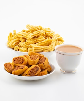 Indian traditional spicy snack bhakarwadi with ghatiya