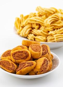 Indian traditional spicy snack bhakarwadi with ghatiya