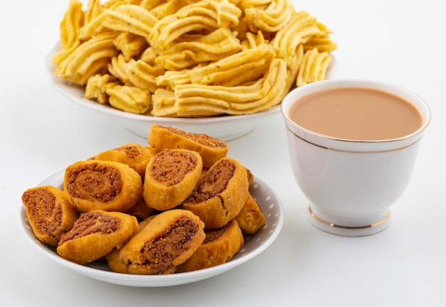 Indian traditional spicy snack ghatiya with bhakarwadi