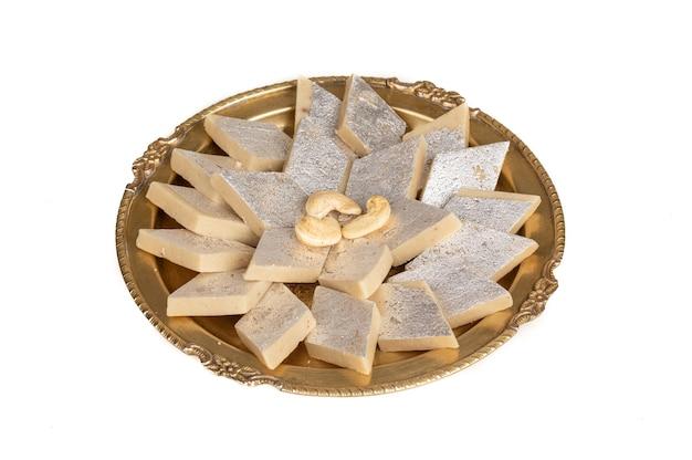 Indian traditional sweet food kaju katli, made with cashew and mawa it is king of indian sweet in india