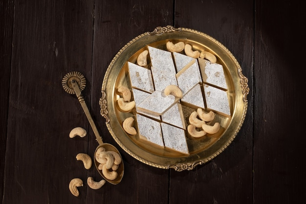 Indian traditional sweet food kaju katli, made with cashew and mawa it is king of indian sweet in india