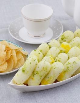 Indian traditional sweet food long rasgulla