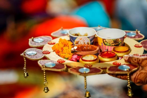 Indian traditional wedding ceremony : decorative puja thali