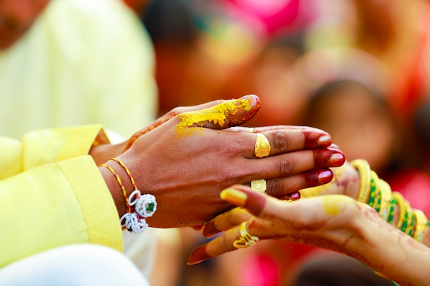 Indian traditional wedding groom hand